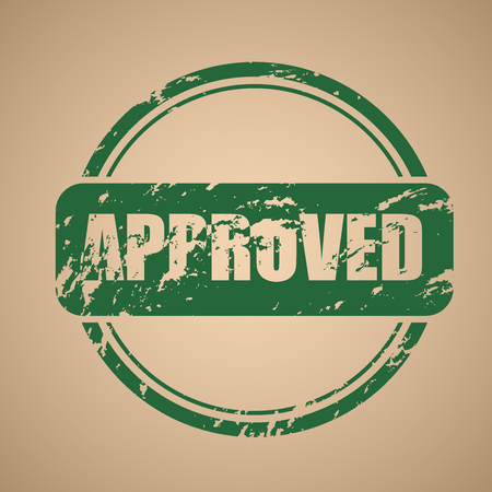 approval stamp: Old, vector round green stamp of approval. Template shabby stamp on an old paper. Vector illustration Illustration