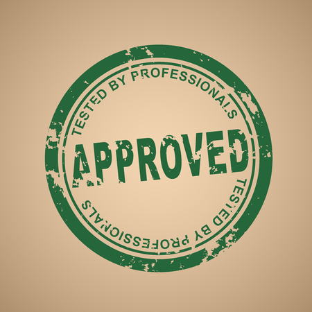 approval stamp: Old green round vector stamp of approval. Shabby stamp on an old paper. Vector illustration