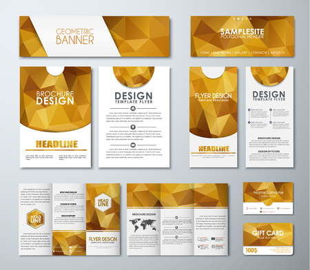 Templates polygonal golden banners flyers brochures gift cards templates polygonal golden banners flyers brochures gift cards folding brochures and business colourmoves