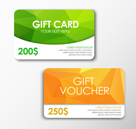 green card: Green gift card and orange gift voucher. Templates polygonal gift card and voucher. Gift Cards $ 200 and $ 250. Vector illustration. Set