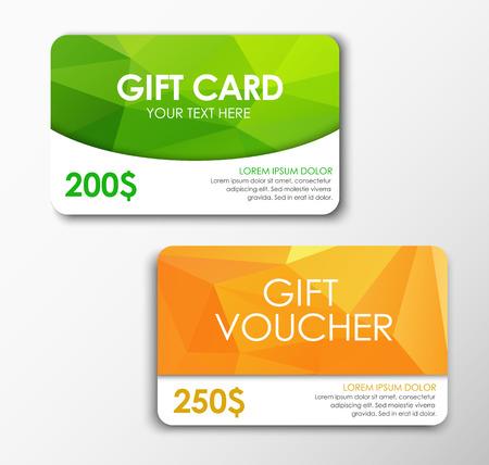 tarjeta de regalo verde y naranja vale de regalo. Plantillas de tarjetas de regalo poligonal y de cupones. Tarjetas de regalo de $ 200 y $ 250. Ilustración del vector. Conjunto