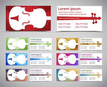 Set of multicolored polygonal music business card business card set of multicolored polygonal music business card business card template with violin on polygonal background cheaphphosting Image collections