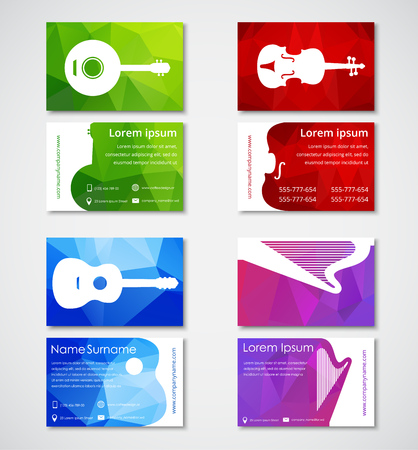 Design of business cards for musicians or music stores polygonal design of business cards for musicians or music stores polygonal colorful business card templates with reheart Images