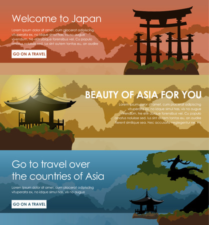 lake: Template a web of banners with the Japanese landscapes of mountains and lakes. Design of banners at different times day. A banner for tourism and travel. Vector illustration. Set