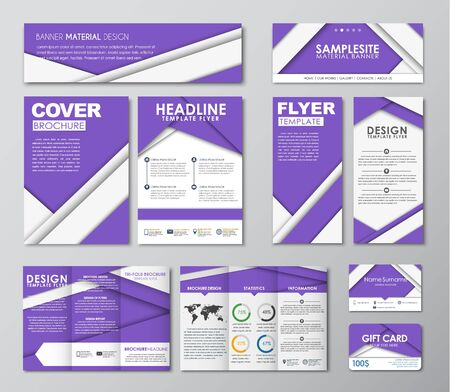 corporate gift: corporate identity design. Templates in the style of the material design. Corporate style of brochures, business cards, banners, flyers, and a gift card. Vector illustration