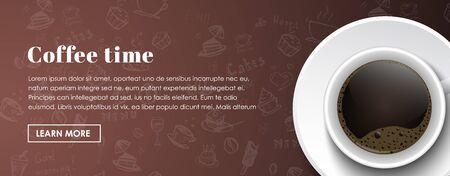 Progettazione banner orizzontali di caffè caffè. Una tazza di caffè nero in background con i disegni a mano. banner modello con posto per testo e pulsanti.