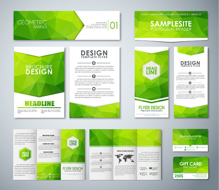 Set of corporate style with green polygonal elements. Templates pamphlets, flyers, banners, folding brochures and business cards. Vector illustration. Mockup Illusztráció