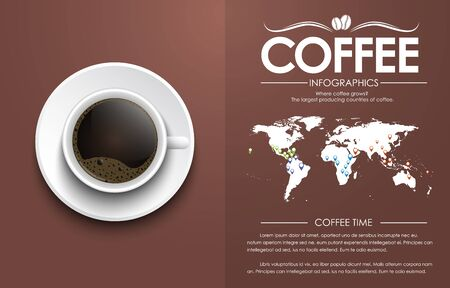 Top view of a cup of black coffee with foam. cover template with world map and information. Vector illustration 矢量图像