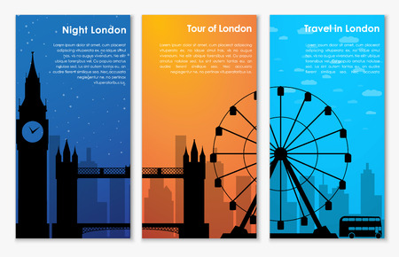 london night: Vertical banner (flyer) with the silhouette of London in the morning, at sunset and at night. Templates for travel and visit and attractions. Vector illustration. Set Illustration