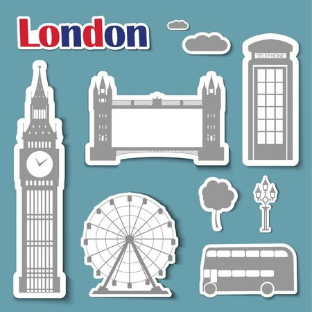 wheel guard: Set of stickers on a blue background with London landmarks Big Ben, Bus, Tower Bridge, a telephone and a flashlight.