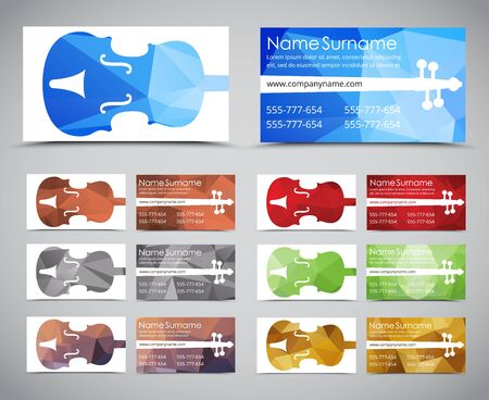 Design of business cards for musicians or music stores polygonal design polygonal business cards for musicians and music stores template with a violin on a reheart Gallery