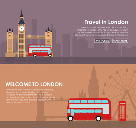 london tower bridge: Design banner with London sights in a flat style. Illustration with city in background and a telephone booth and red bus Big Ben and Tower Bridge.
