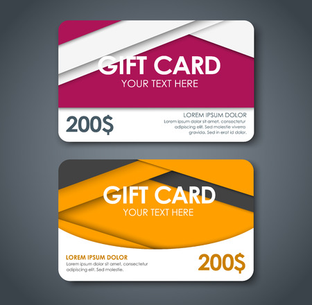 claret: Templates of gift cards in style of material design, yellow, claret, white and black color, different dollar face value. Vector illustration. Set