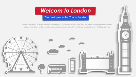 london tower bridge: Website template header with the London landscape on stickers. Main place of Big Ben, Tower Bridge, the phone and the bus. Vector illustration. Set Illustration