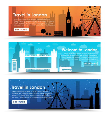 london night: Set of horizontal web banners with the silhouette of London and its attractions. Patterns at different times of the day - morning and night sunset. Vector