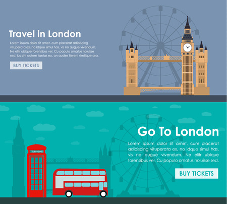london tower bridge: banner template for travel around London with Big Ben, Tower Bridge, buses and telephone. Vector illustration in a flat style