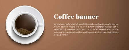 Design horizontal banner. A cup of black coffee on brown background. template with place for text. Vector illustration