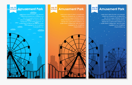 a set of vertical banners advertising an amusement park with a roller coaster template during