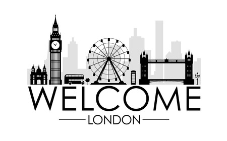 Welcome to London. Silhouette of the city with major tourist sites on a white background.