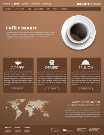 web site design template: Brown Design web site with a cup of black coffee, top view. Template menu for cafes, shops and restaurants. Vector illustration.