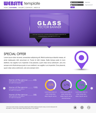 web site design template: Design violet web site with glass banner on the leg for quotes. The template is divided into blocks of information. Vector illustration