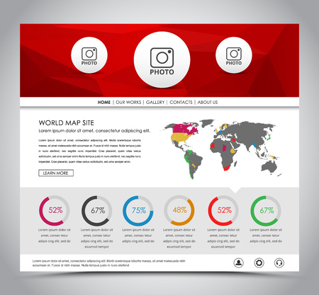 web site design template: Design a web site with red polygonal banner. The template with world map and circular Diagram. Vector illustration