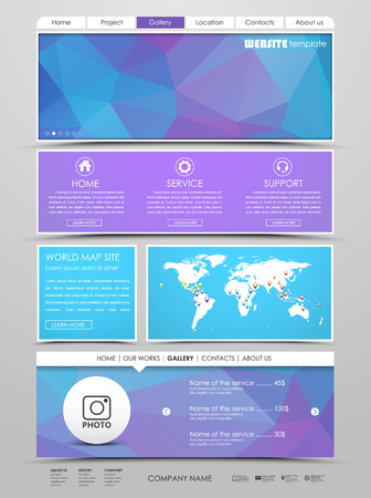 web site design template: Design a web site with a blue banner polygonal. The template is divided into blocks, buttons and navigation menu Vector illustration Illustration