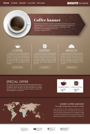 web site design template: Brown Design web site with banner-pointer (arrow) and a cup of black coffee, top view. Template menu for cafes, shops and restaurants. Vector illustration.