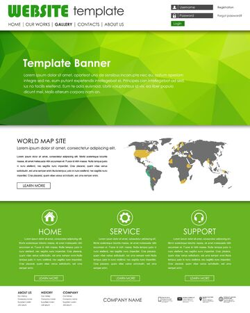 web site design template: Design a web site with a green banner polygonal. The template with world map and icons. Vector illustration