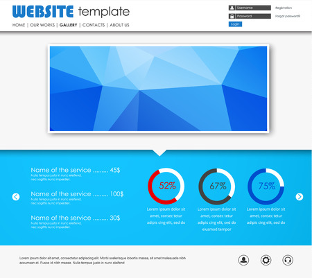 web site design template: Design a web site with a blue banner polygonal. Template circular Diagram and buttons. Vector illustration