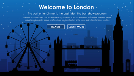 london night: Web banner with silhouette of Londons buildings at night. Template for tourism and Journey. Vector illustration