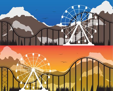 Templates of banners for the amusement park with a Ferris wheel and rides on a background of mountains at sunset and during the day. Vector illustration