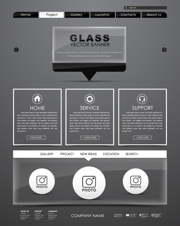 icons site search: Template black website with glass banner on the leg for quotes. The design is divided into blocks of information. Vector illustration
