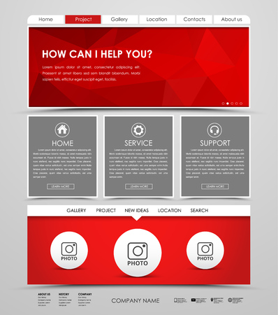 web site design template: Design a web site with red polygonal banner. The template is divided into blocks for photos and information. Vector illustration Illustration