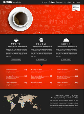 web site design template: Design a web site with a view from above of a cup of black coffee. Template icons, banners and hand drawings for shops or cafes. Vector illustration