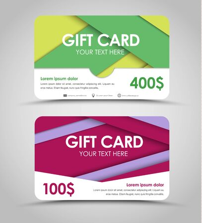claret: Design of gift cards with green, yellow, claret and violet sheets of paper. a template in style of material design. Vector illustration. Set