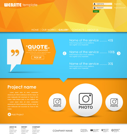 web site design template: Design a web site with a banner on the leg for quotes. Template with orange polygonal background and is divided into blocks, buttons and menus. Vector illustration Illustration