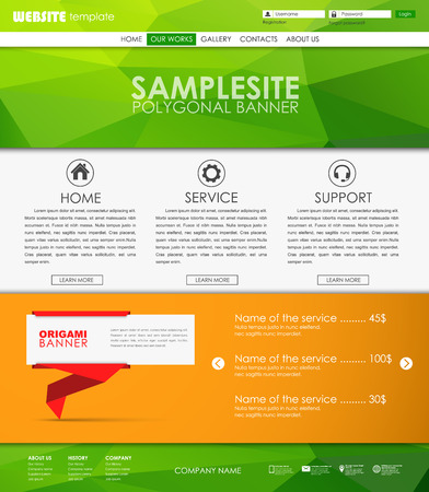 web site design template: Design a Web Site with origami banner on the leg. Template polygonal green background. Vector illustration Illustration