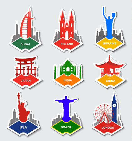 A set of stickers with the monuments and buildings from different countries in the flag colors. US, Ukraine, England, Poland, China, India, Japan, Brazil and the United Arab Emirates.