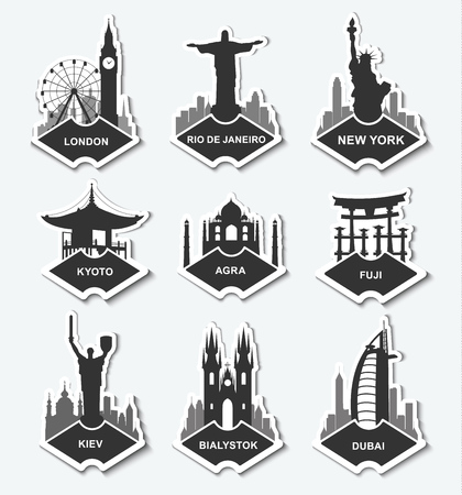 A set of stickers with the monuments and buildings of different cities. Template tags New York, Kiev, Logdon, Rio, Dubai, Warsaw, Fuji, Kyoto, Agria. Vector illustration