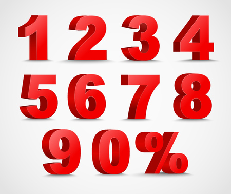Set 3D des chiffres de couleur rouge et signe de pour cent. nombre de 1 à 9. Banque d'images - 62924851