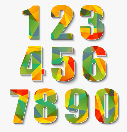 Set of multi-colored polygonal numbers from 0 to 9. Vector illustration