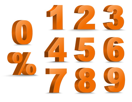 5.0: Templates 3D of figures of orange color and sign of percent. number from 1 to 9. Vector illustration. Set
