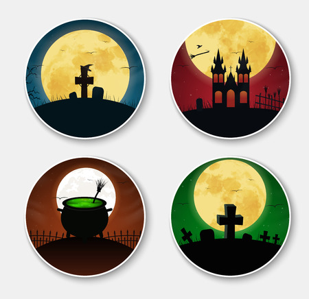 Design stickers (icons) on Halloween. Templates with orange, green and blue night sky and the moon, the cemetery, the castle and the bowler with the potion, witches brooms and hubcaps. Set