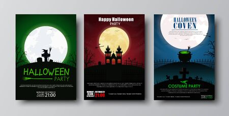 Design posters (flyers, covers, brochures) on Halloween. Templates with red, green and blue night sky and the moon, with crosses, tombs, castles and pot potion, witches brooms and hubcaps. Set Illustration