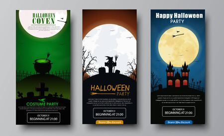 Flyer Design Halloween party. Templates with orange, green and blue night sky and the moon, the cemetery, the castle and the bowler with the potion, witches brooms and hubcaps. Set