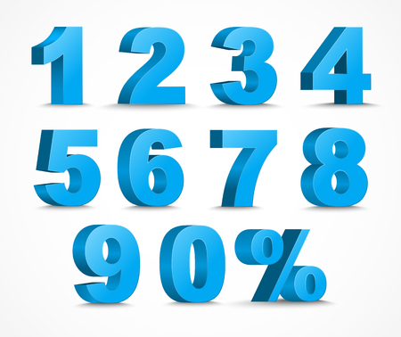 set of 3D figures and percent sign. The template in blue color 矢量图像