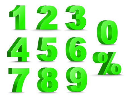 set of 3D figures and percent sign. The template in green color