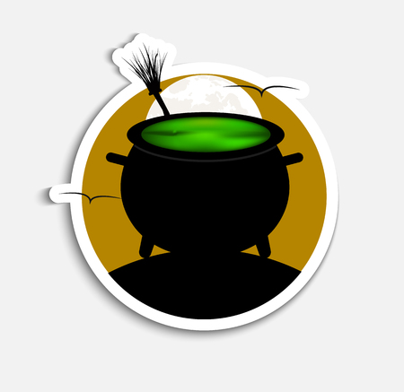 Sticker Template (icons) on Halloween night with orange sky and a bowler hat with a green witch potion.