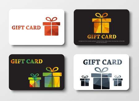 set di bianco e nero carte regalo con scatole diverse. I modelli di oro, bronzo, argento, colorato elementi astratti poligonali. Illustrazione vettoriale. Impostato